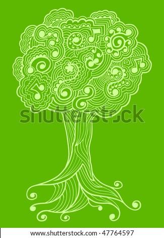 Sketch Henna doodle Tree vector - stock vector