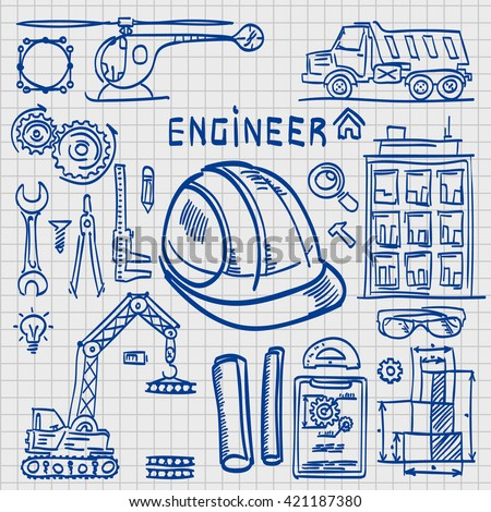 Sketch Icons Engineer drawing style. Engineer icons set. Engineer icons. Vector illustration - stock vector