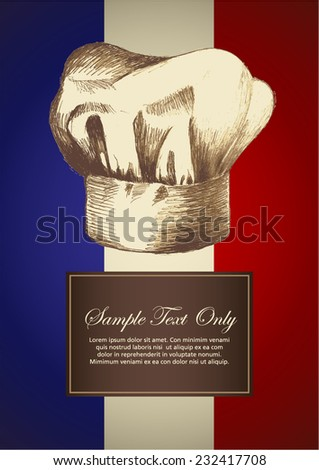 Sketch illustration of a chef hat on French insignia background  - stock vector
