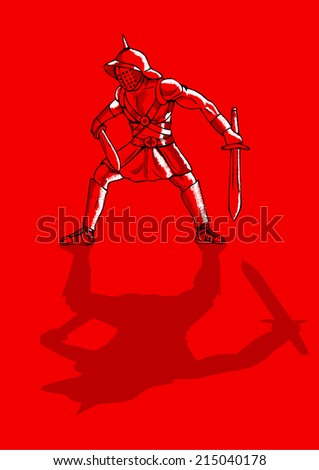 Sketch illustration of a gladiator on red background - stock vector