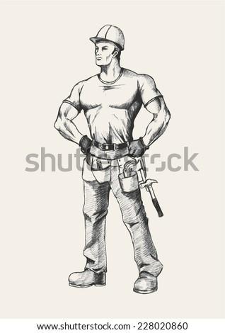 Sketch illustration of a handyman - stock vector
