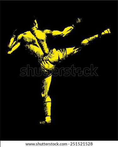 Sketch illustration of a kick boxer - stock vector