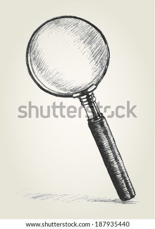 Sketch illustration of a magnifying glass - stock vector