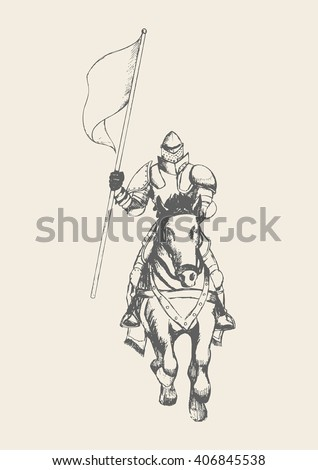 Sketch illustration of a medieval knight on horse carrying a flag