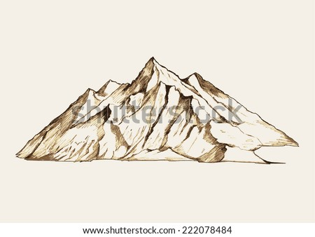 Sketch illustration of a mountain - stock vector