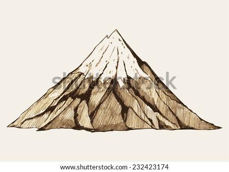 Sketch illustration of a mountain - stock vector