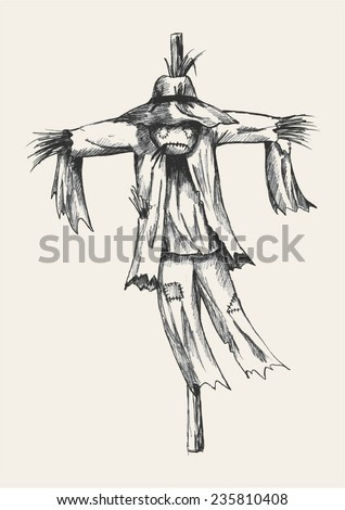 Sketch illustration of a scarecrow - stock vector