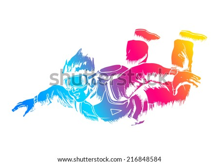 Sketch illustration of a sky diver  - stock vector