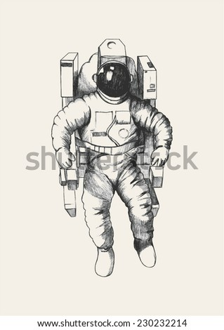 Sketch illustration of an astronaut - stock vector