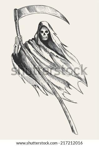 Sketch illustration grim reaper stock photo photo vector sketch illustration of grim reaper voltagebd Images