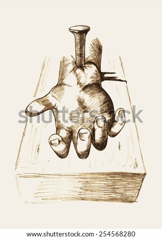 Sketch illustration of hand nailed on cross - stock vector
