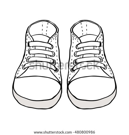 Sketch Illustration Kids Shoes Isolated On Stock Vector 480800986 - Shutterstock