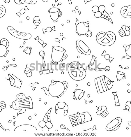 Sketch illustration of tea and sweets. Seamless background - stock vector