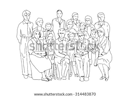 Sketch in the style of old photographs illustrating family life and family values of the last century - stock vector