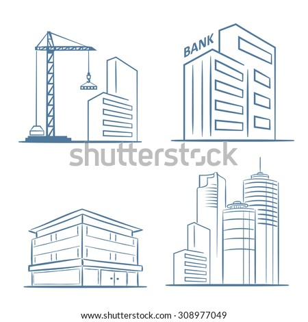 Sketch Line Flat Design Of Business City Architecture Commercial Building And Construction Bank