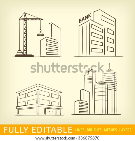 Sketch line flat design of business city architecture, commercial building and construction, bank and small firm office. Modern vector illustration concept, isolated on white background. - stock vector