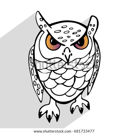 Sketch linear angry owl on a white background