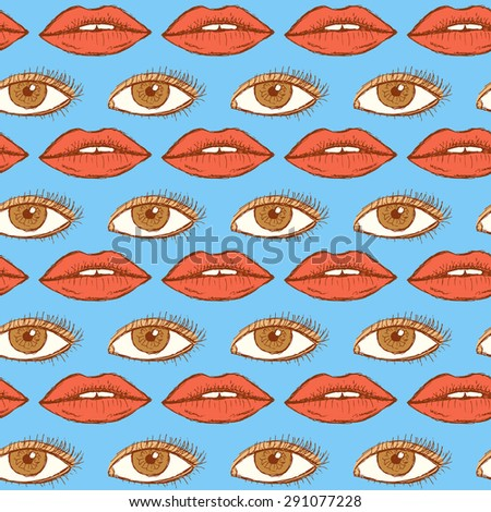 Sketch lips and eye in vintage style, vector seamless pattern - stock vector