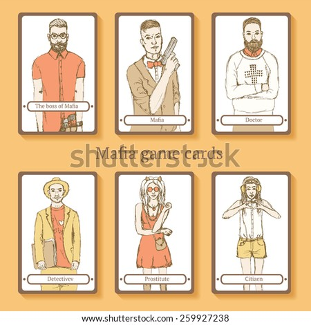 Sketch Mafia cards in vintage style, vector - stock vector