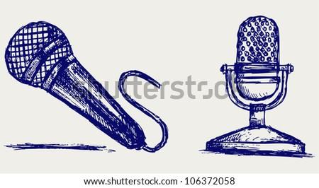 Sketch microphone - stock vector