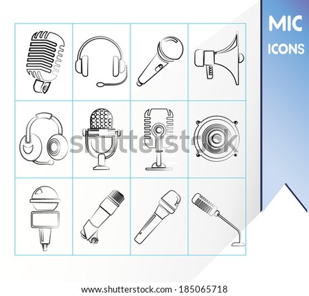 sketch microphone icons set - stock vector