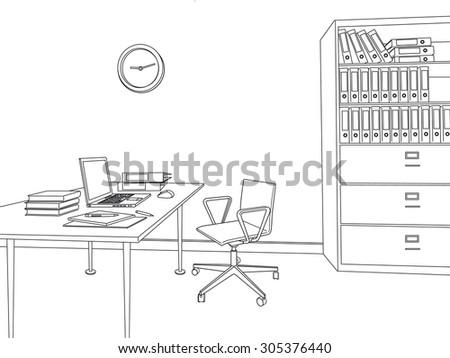sketch modern office interior - stock vector