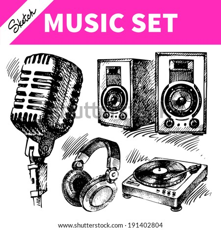 Sketch music set. Hand drawn illustrations of Dj icons - stock vector