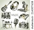 Sketch music set. Hand drawn vector illustrations of Dj icons - stock photo