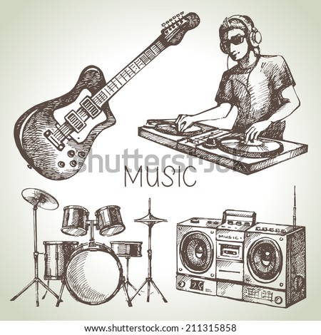Sketch music set. Hand drawn vector illustrations of Dj icons - stock vector