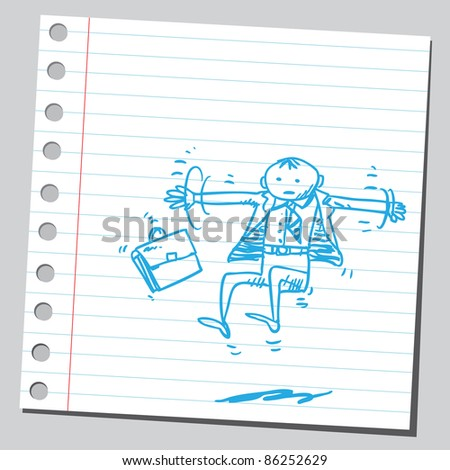 Sketch of a businessman flying