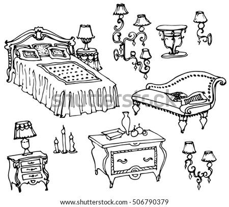 Sketch Classic Set Furniture Bedroom Bed Vector de stock506790379 ...