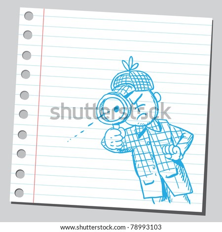 Sketch of a detective looking through magnifying glass - stock vector