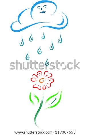 sketch of a flower and a cloud with rain water drops