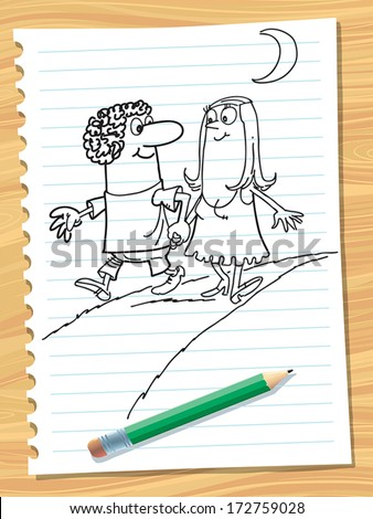 Sketch of a happy couple taking a walk in the park. - stock vector