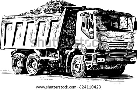 sketch of a heavy lorry