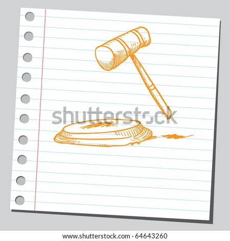 Sketch of a judge's gavel - stock vector