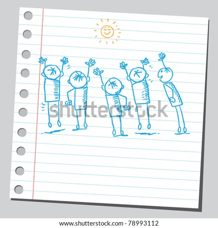 Sketch of a kids and sun