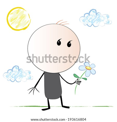 Sketch of a man with a comma instead of eyes, which is carefully holding flower stands against the backdrop of the Sun and clouds. Drawing like a child's drawing. - stock vector