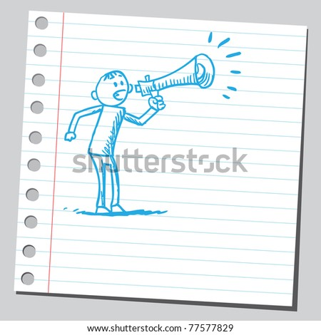 Sketch of a man yelling in to megaphone - stock vector