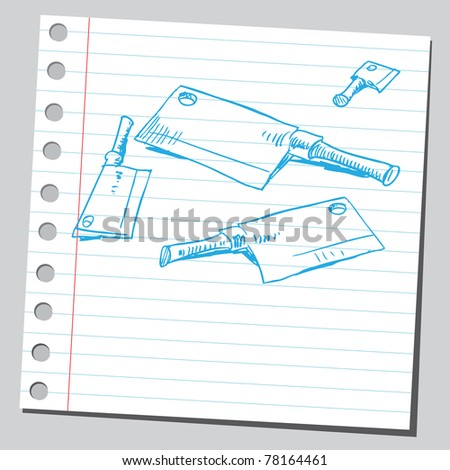 """Sketch of a """"meat cleavers"""" - stock vector"""
