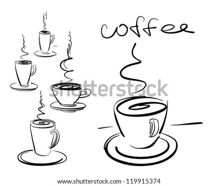 Sketch of a mugs with smoke - stock vector