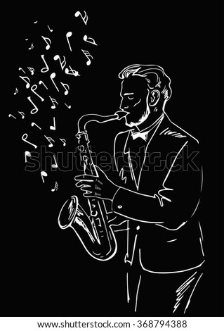 Sketch of a musician with a saxophone and flying notes on a black background. Painted white outline. Black and White Design - stock vector