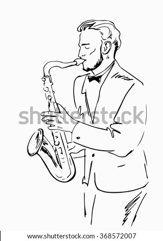 Sketch of a musician with a saxophone.Jazz with saxophone,vector illustration.Saxophonist painted black outline on a white background.