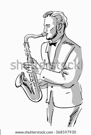 Sketch of a musician with a saxophone with gray tone - stock vector
