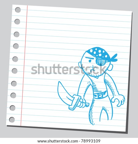 Sketch of a pirate holding knife - stock vector
