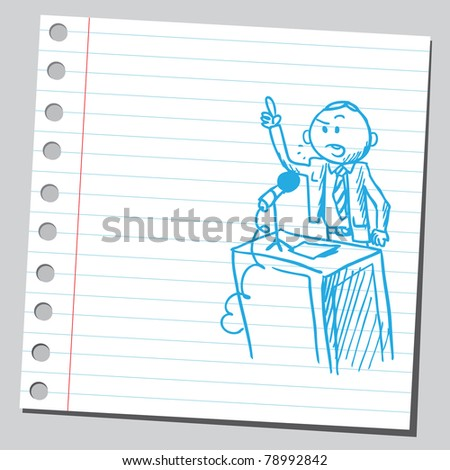 Sketch of a politician speaking - stock vector