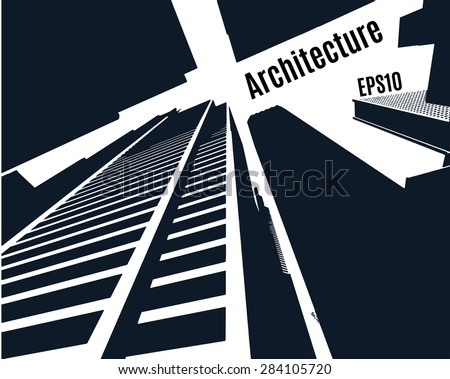 Sketch of a skyscrapers of city, perspective from under the bottom,  silhouette buildings, vector stock - stock vector
