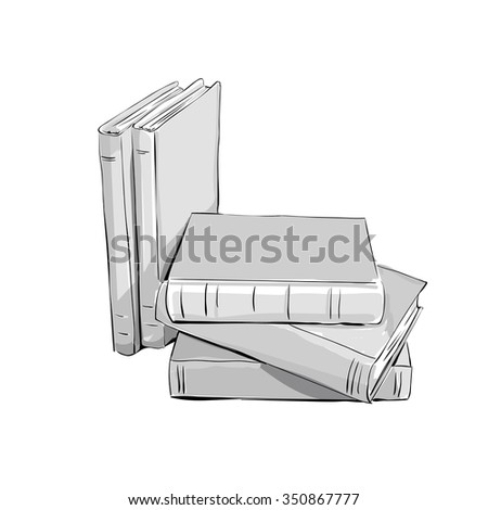 sketch of a stack of books. Opened and closed books,  stacked books and single book isolated on white background.
