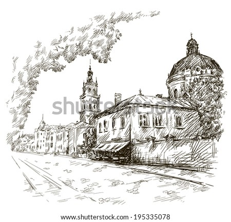 Sketch of a street. Old city. City centre.  Vector illustration.  - stock vector