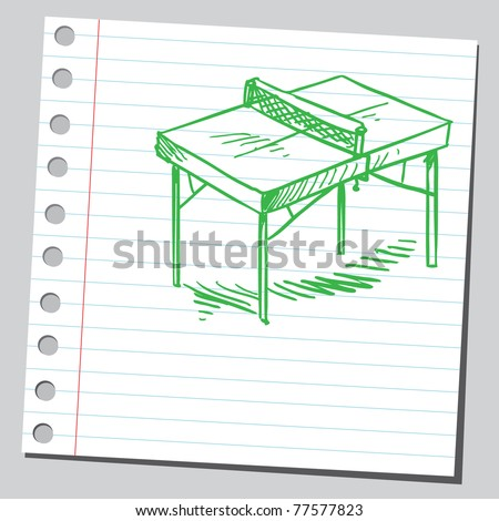 "Sketch of a ""table tennis"" table - stock vector"